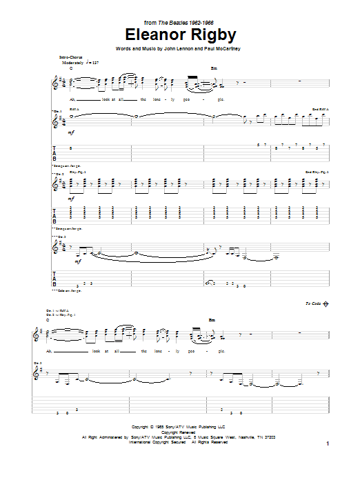 Eleanor Rigby (Guitar Tab)