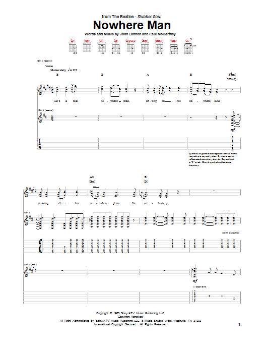 Nowhere Man Sheet Music