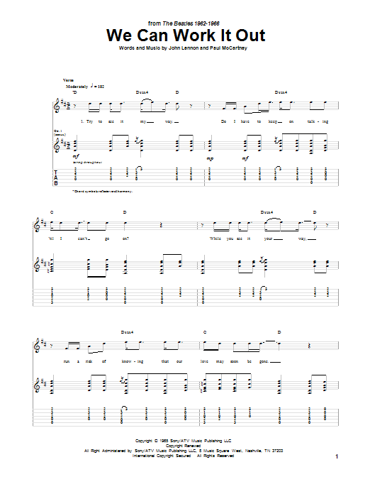 We Can Work It Out Guitar Tab By The Beatles Guitar Tab 86331