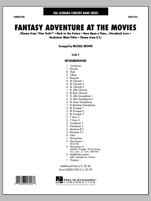 Fantasy Adventure At The Movies (COMPLETE) sheet music for concert band by Michael Brown. Score Image Preview.