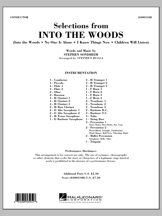 Selections from Into the Woods (COMPLETE) sheet music for concert band by Stephen Bulla and Stephen Sondheim. Score Image Preview.