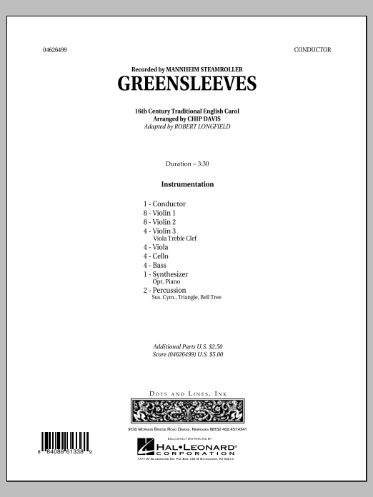 Greensleeves - Full Score (Orchestra)