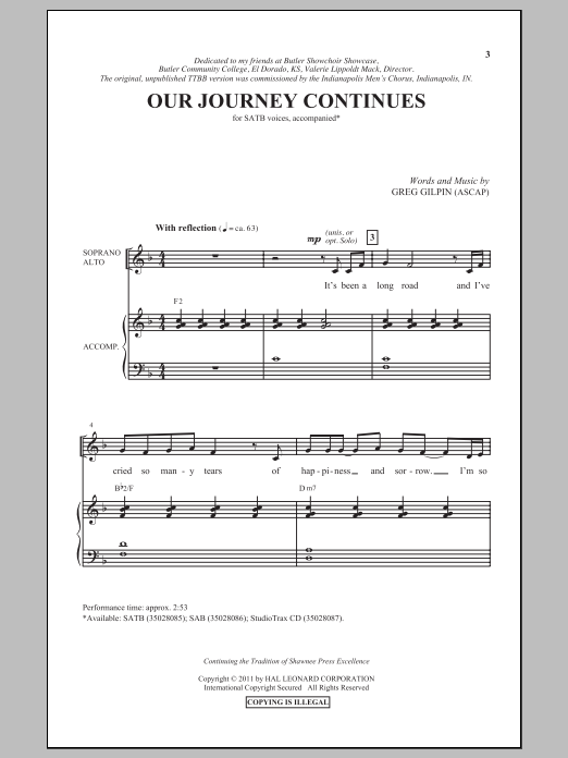 Partition chorale Our Journey Continues de Greg Gilpin - SATB