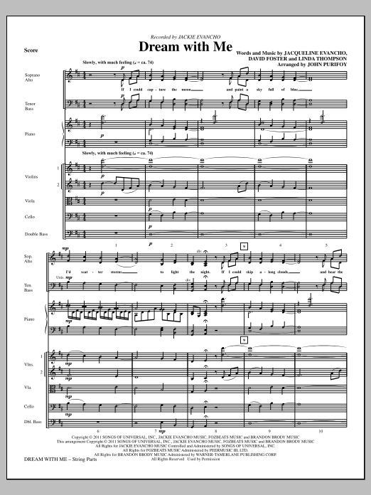 Dream With Me (complete set of parts) sheet music for orchestra/band (Strings) by John Purifoy, David Foster, Jackie Evancho and Linda Thompson. Score Image Preview.