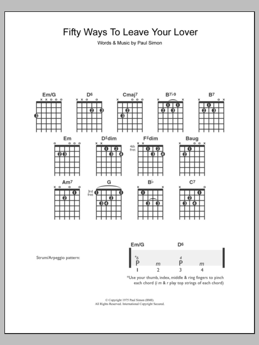 Fifty Ways To Leave Your Lover sheet music by Paul Simon (Guitar ...