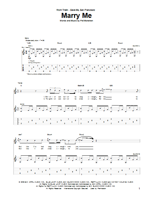 Tablature guitare Marry Me de Train - Tablature Guitare