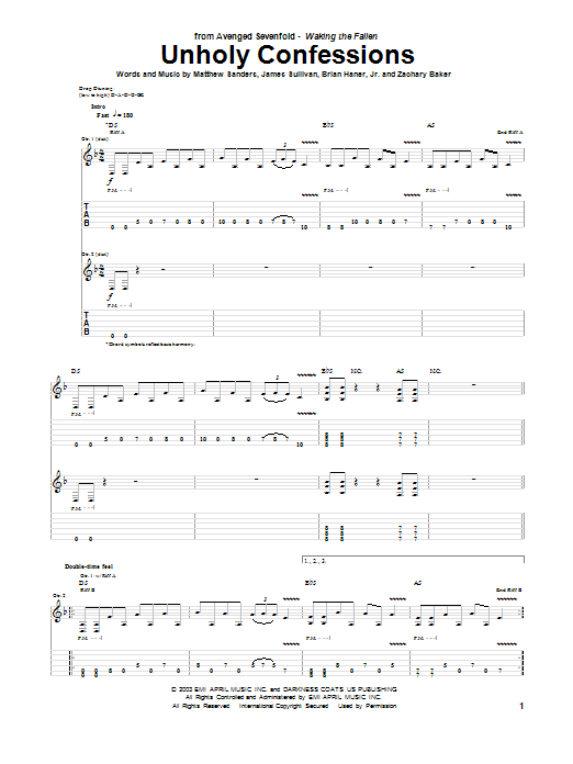Unholy Confessions Sheet Music