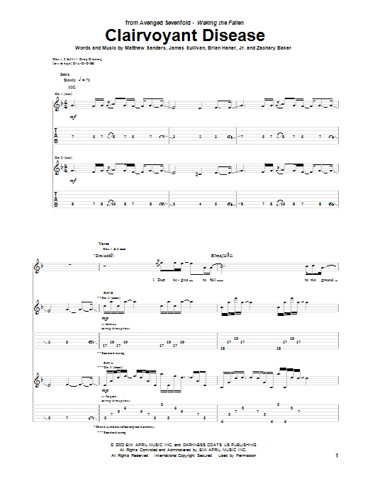 Tablature guitare Clairvoyant Disease de Avenged Sevenfold - Tablature Guitare