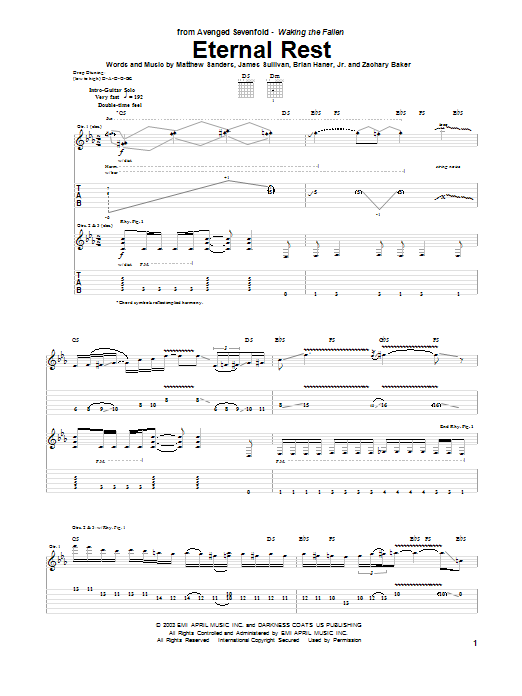 Tablature guitare Eternal Rest de Avenged Sevenfold - Tablature Guitare