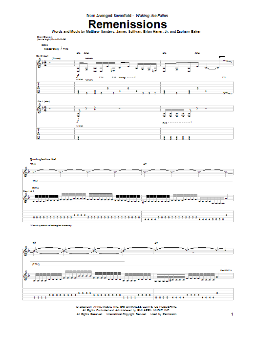 Remenissions Sheet Music