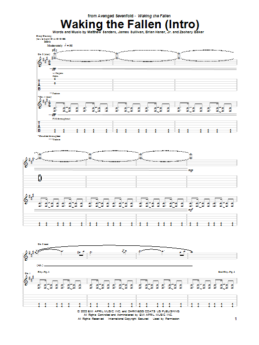 Waking The Fallen (Intro) Sheet Music