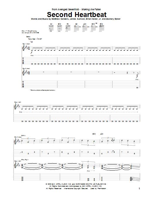 Tablature guitare Second Heartbeat de Avenged Sevenfold - Tablature Guitare