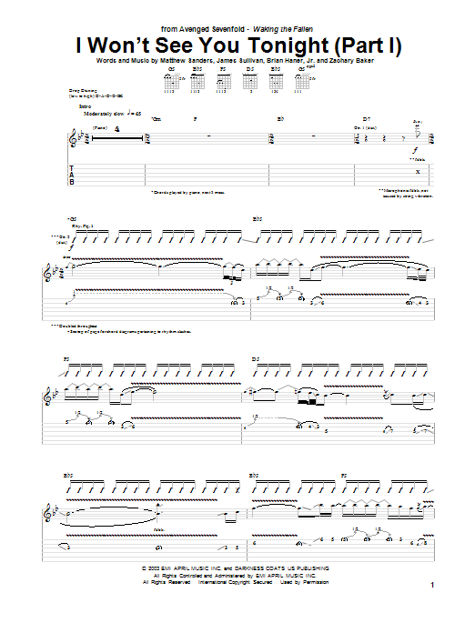 I Won't See You Tonight (Part I) Sheet Music