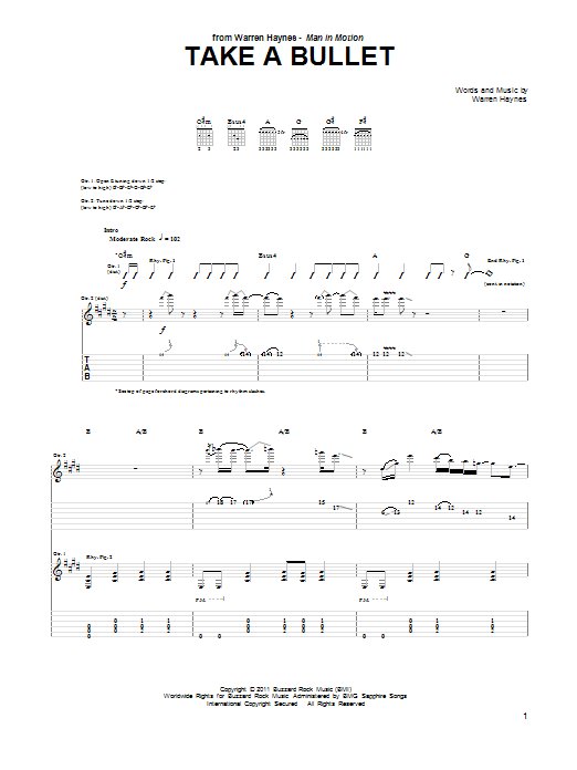 Tablature guitare Take A Bullet de Warren Haynes - Tablature Guitare