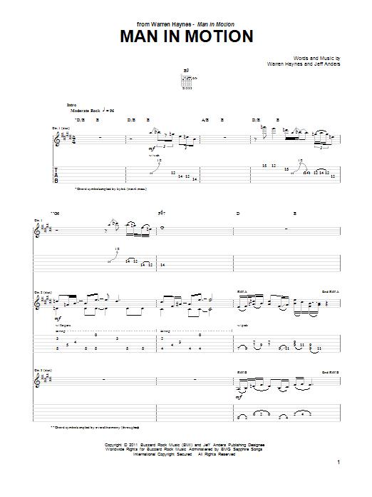 Tablature guitare Man In Motion de Warren Haynes - Tablature Guitare