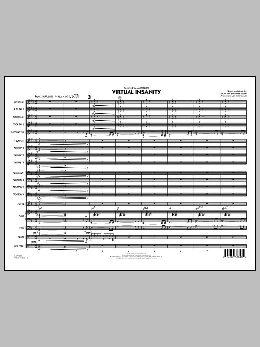 Virtual Insanity (COMPLETE) sheet music for jazz band by John Wasson and Jamiroquai. Score Image Preview.