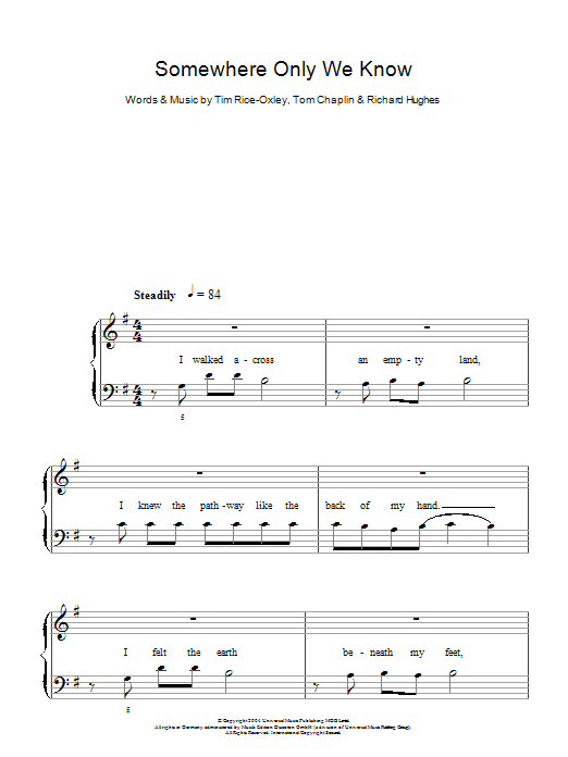 Somewhere Only We Know Sheet Music Direct