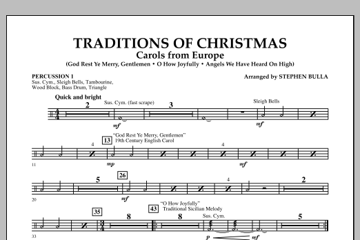 Traditions Of Christmas (Carols From Europe) - Percussion 1 (Orchestra)