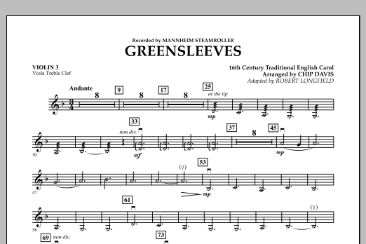 Greensleeves - Violin 3 (Viola Treble Clef) (Orchestra)