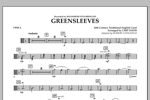 Greensleeves - Viola (Orchestra)