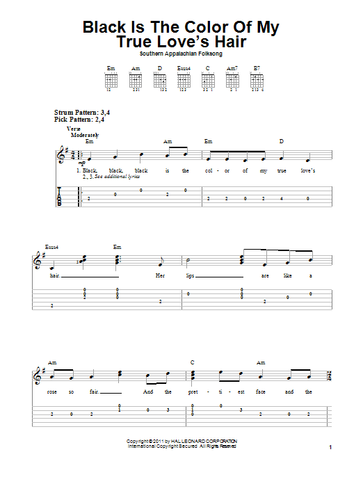 Tablature guitare Black Is the Color of My True Love's Hair de Southern Appalachian Folk Song - Tablature guitare facile