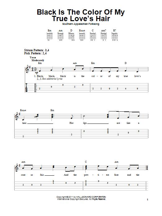 Tablature guitare Black Is the Color of My True Love's Hair de Southern Appalachian Folk Song - Tablature guitare facile