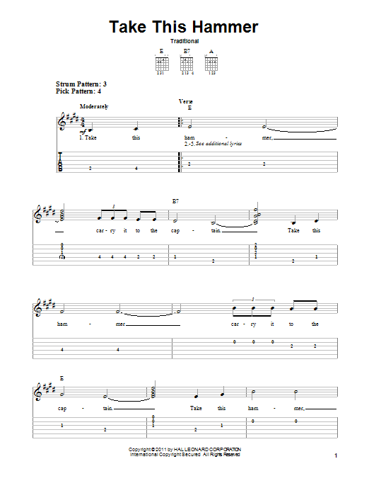 Take This Hammer Sheet Music