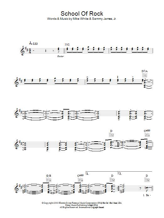 School Of Rock Sheet Music