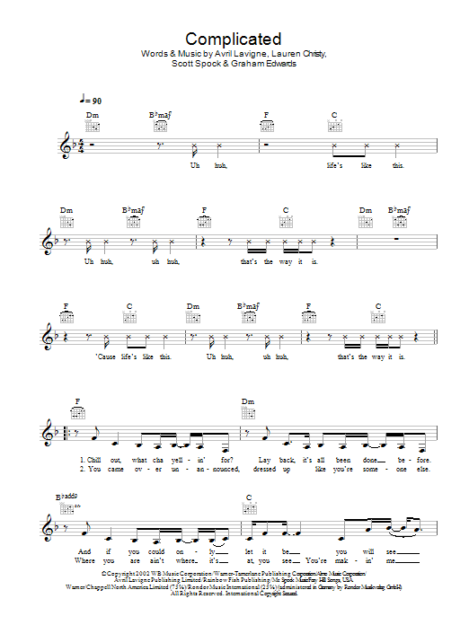 Complicated chords by Avril Lavigne (Melody Line, Lyrics & Chords ...