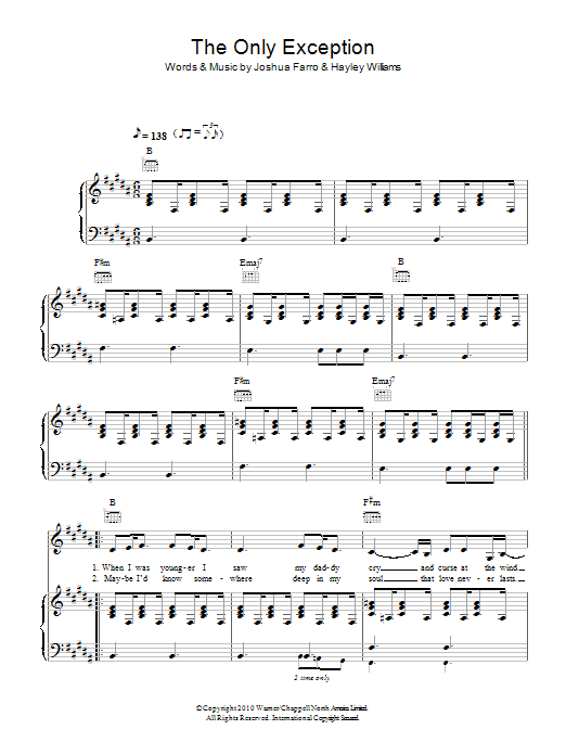 The Only Exception Sheet Music Direct