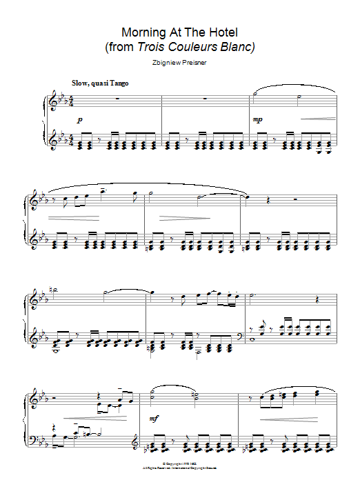 Morning At The Hotel (from the film Trois Couleurs Blanc) Sheet Music