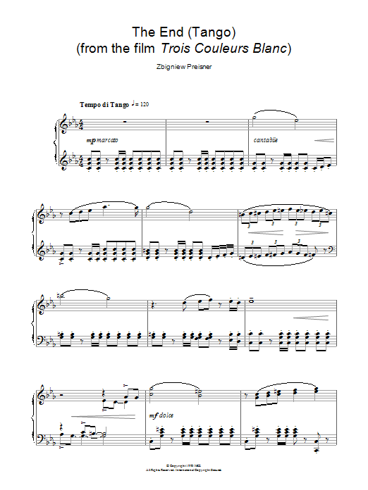 The End (Tango) (from the film Trois Couleurs Blanc) Sheet Music