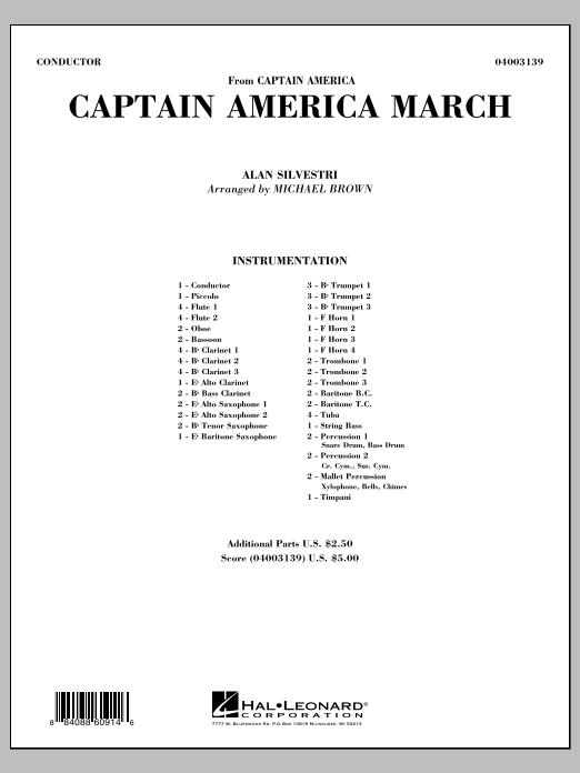 Captain America March (COMPLETE) sheet music for concert band by Alan Silvestri and Michael Brown. Score Image Preview.