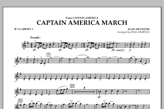 Captain America March - Bb Clarinet 1 (Concert Band)