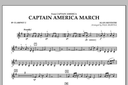 Captain America March - Bb Clarinet 2 (Concert Band)