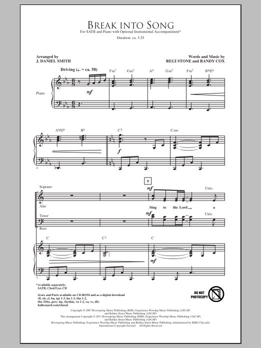 Break Into Song (arr. J. Daniel Smith) Sheet Music