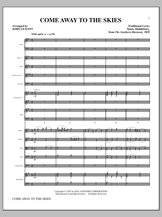 Come Away To The Skies (complete set of parts) sheet music for orchestra/band (Orchestra) by John Leavitt. Score Image Preview.