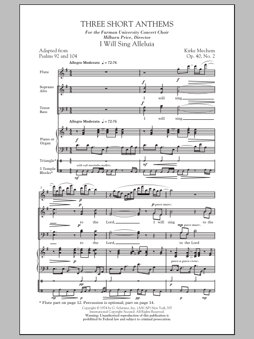 Partition chorale Three Short Anthems de Kirke Mechem - SATB