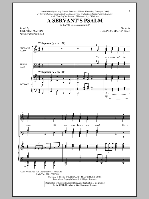 A Servant's Psalm Sheet Music