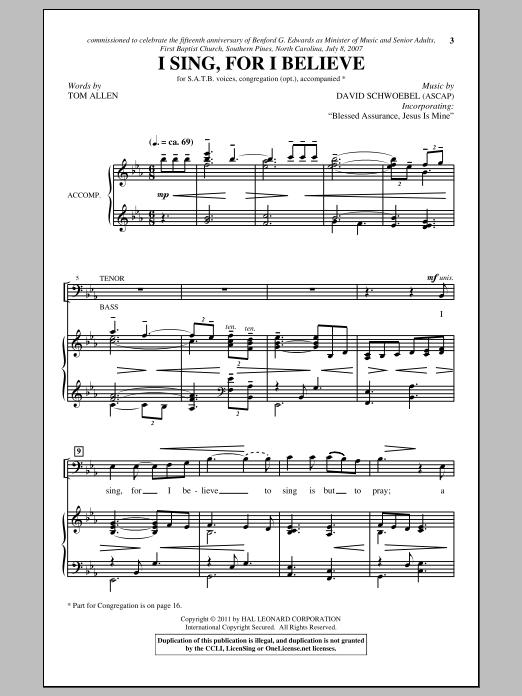 I Sing, For I Believe Sheet Music