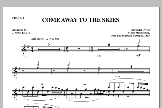 Come Away To The Skies - Flute 1 & 2 (Choir Instrumental Pak)