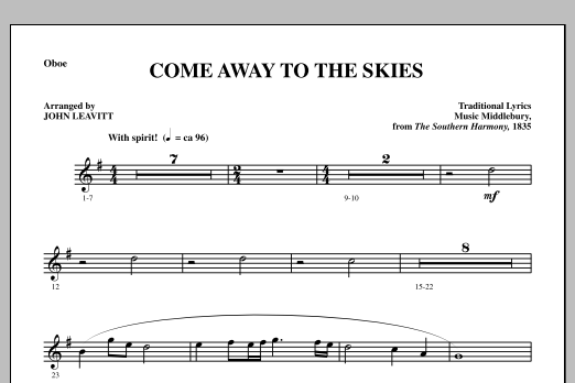 Come Away To The Skies - Oboe (Choir Instrumental Pak)