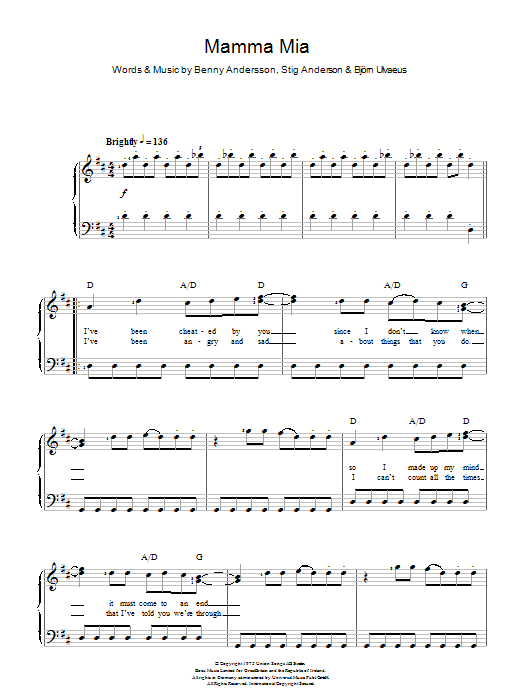 Mamma Mia - Sheet Music to Download