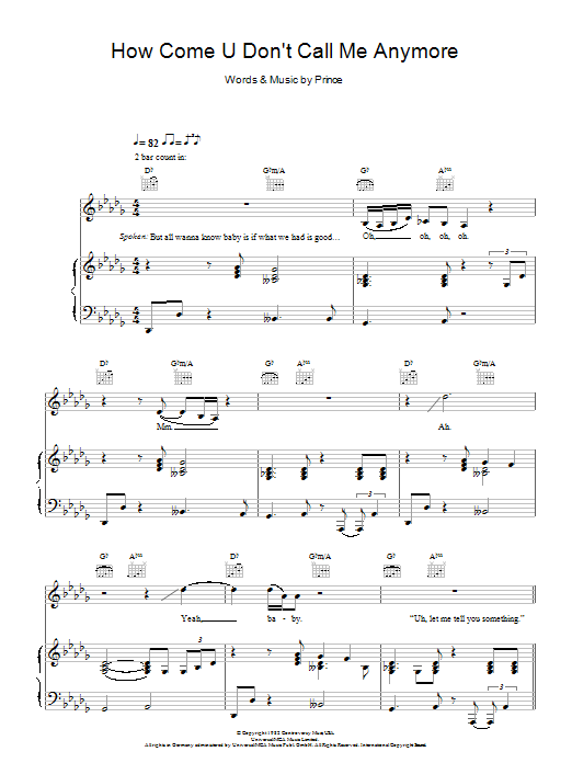 How Come U Don't Call Me Anymore by Alicia Keys Piano, Vocal & Guitar  Digital Sheet Music