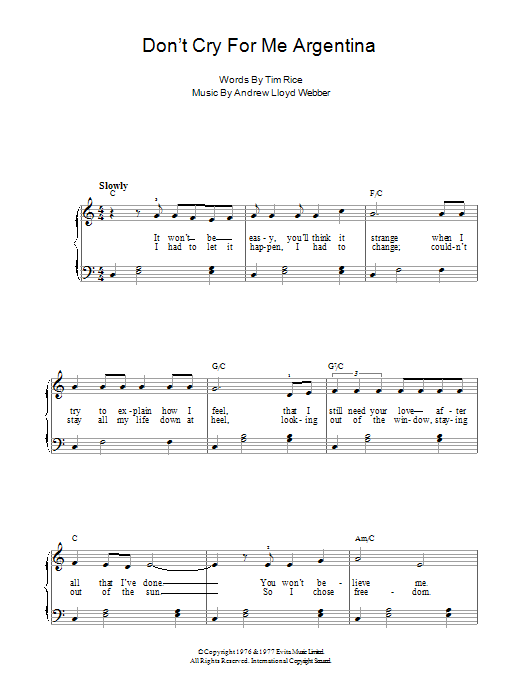 Dont Cry For Me Argentina Sheet Music Direct