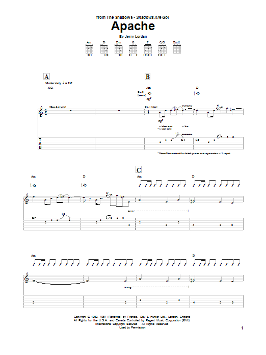 Tablature guitare Apache de Jorgen Ingmann - Tablature Guitare