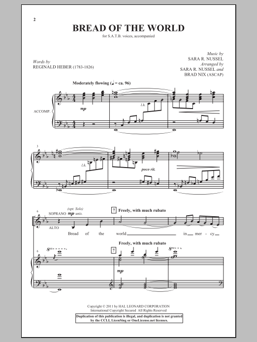 Bread Of The World Sheet Music