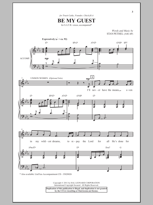 Partition chorale Be My Guest de Stan Pethel - SATB