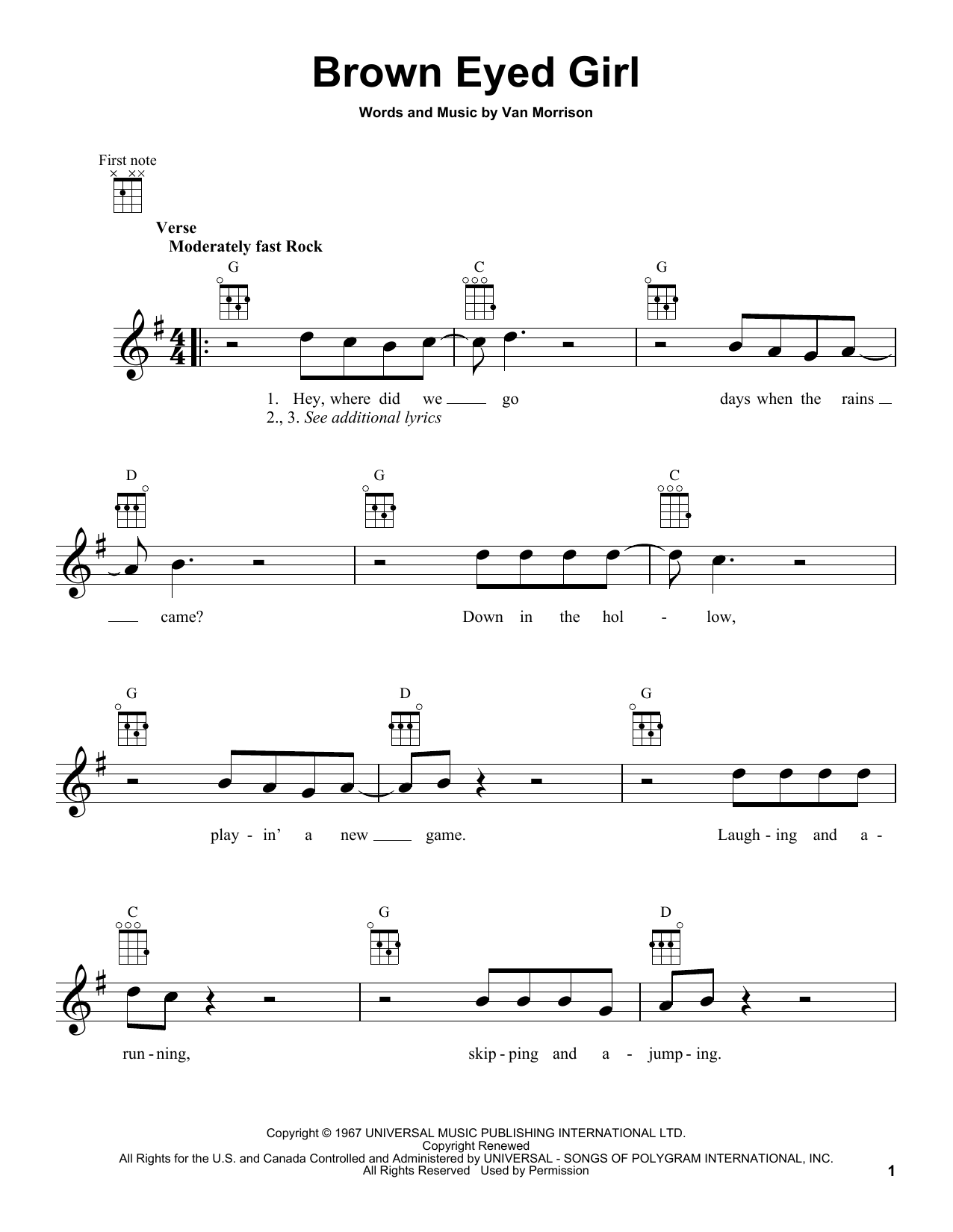 Ukulele ukulele tabs van morrison : Brown Eyed Girl by Van Morrison - Ukulele - Guitar Instructor