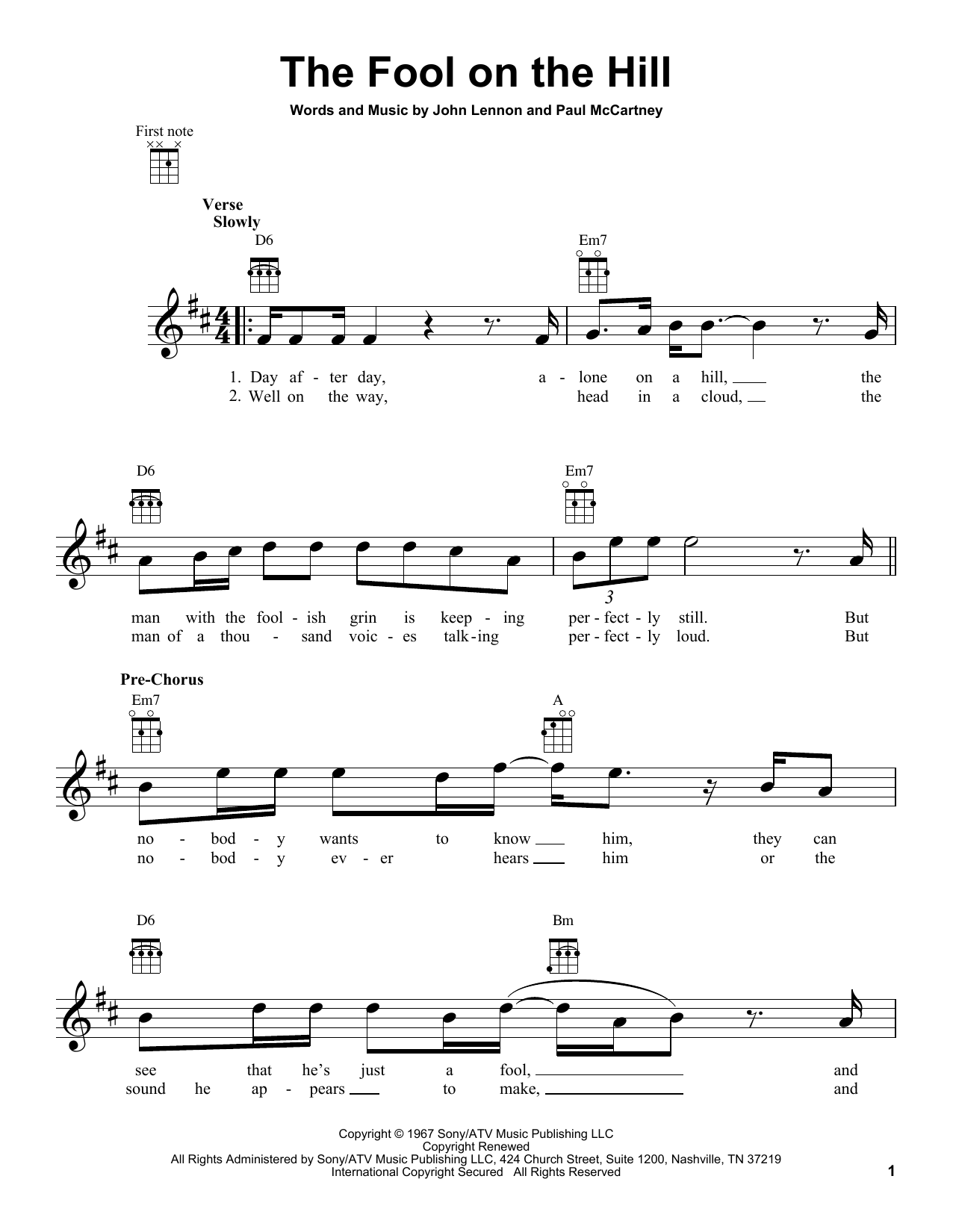 Tablature guitare The Fool On The Hill de The Beatles - Ukulele